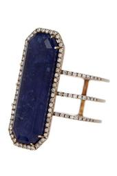 14K Gold Sodalite Stone & Diamond Ring - 0.28 ctw - Size 6.5