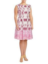 Plus Scroll-Print A-Line Dress