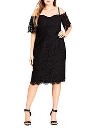 Plus Lace Whisper Dress