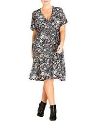 Plus Etched Floral Wrap Dress