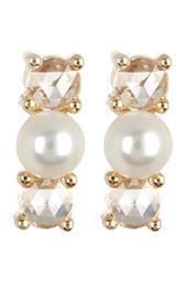 14K Yellow Gold 3.5mm Pearl & Diamond Stud Earrings - 0.16 ctw