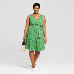 A New Day™ Women\'s Plus Size Polka Dot Sleeveless Tie Waist Dress - A New  Day™ Green/White - On Sale for $19.58 (regular price: $27.98)
