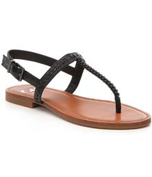 GB All-Access Woven Leather T-Strap Thong Sandals