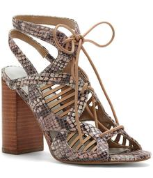 1. STATE Kayya Ghillie Mixed Snake Embossed Lace-Up Block Heel Sandals