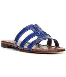 Sam Edelman Berit Crocodile-Embossed Slide-On Sandals