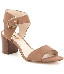 Louise et Cie Kapri Nubuck Buckle Closure Wooden Block Heel Sandals