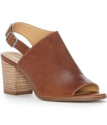 Lucky Brand Obelia Leather Slingback Peep Toe Stacked Block Heel Sandals
