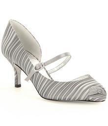 Adrianna Papell Janet Leather Stripe Peep Toe Mary Jane Pumps