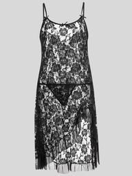 Plus Size Lace Ruffle Sheer Slip Dress