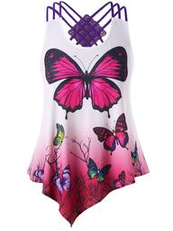 Plus Size Strappy Butterfly Tank Top