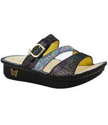 Alegria Colette Leather Triple Banded Buckle Slide On Sandals