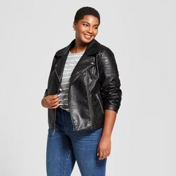 Women's Plus Size Faux Leather Moto Jacket - Ava & Viv™ Black