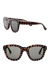 49mm Studded Square Sunglasses