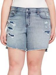 Plus Mika Best Friend Distressed Denim Shorts