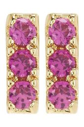 18K Yellow Gold Plated Sterling Silver Pave Crystal Bar Stud Earrings