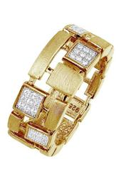 18K Gold Plated Sterling Silver Simulated Diamond and CZ Checkerboard Ring