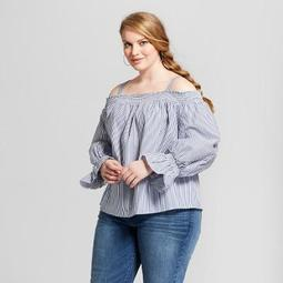 9a115f8b332 Ava   Viv™ Women s Plus Size Striped Long Sleeve Cold Shoulder