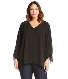 bc85586bc93 Karen Kane Plus Size Crossover Tie Sleeve Top