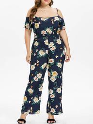 Plus Size Flower Cami Jumpsuit