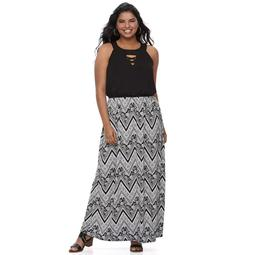 Kohls Juniors\' Plus Size Three Pink Hearts Strappy High Neck Maxi Dress -  On Sale for $20.80 (regular price: $52.00)