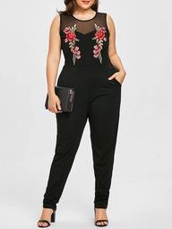 Plus Size Sleeveless Mesh Yoke Embroidery Jumpsuit