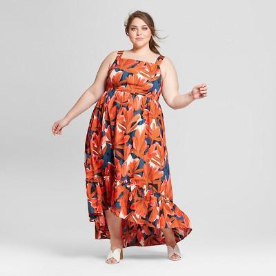 Who What Wear Women\'s Plus Size Sleeveless Ruffle Hem Maxi Tank