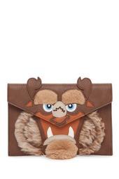 Beast Faux Fur Trim Clutch