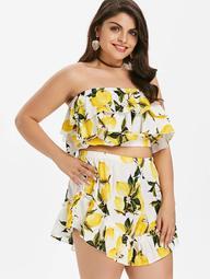 Plus Size Flounce Lemon Print Shorts Set