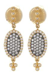 14K Gold & Rhodium Plated Sterling Silver CZ Pave Oval Drop Earrings