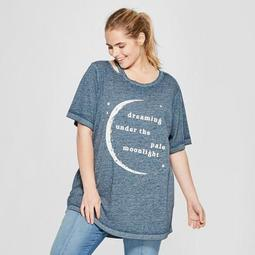 Women's Plus Size Short Sleeve Dreaming Pale Moonlight Graphic T-Shirt - Mighty Fine (Juniors') Navy