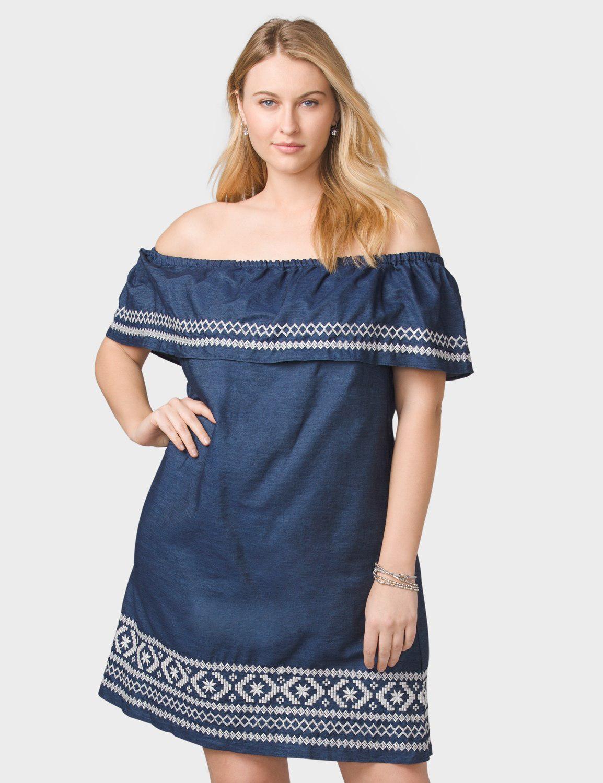 8dd722b9971 Dressbarn Plus Size Off-The-Shoulder Embroidered Denim Dress