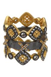 14K Gold & Rhodium Plated Sterling Silver CZ Lattice Motif Axis Ring Set - Set of 3 - Size 7