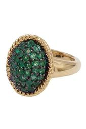 18K Yellow Gold Vermeil Faceted Emerald Ring