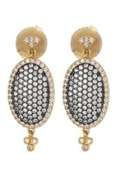 14K Gold & Rhodium Plated CZ Pave Oval Drop Earrings