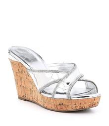 6e5b46a9872 Guess Eleonora Metallic Rhinestone Detail Wedge Sandals