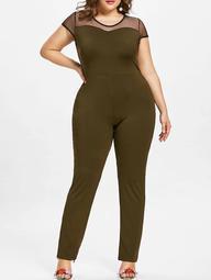 Cap Sleeve Plus Size Mesh Panel Jumpsuit