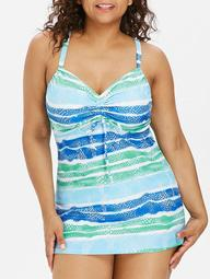Back Criss Cross Plus Size Color Block Tankini Set