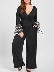 Plus Size Lace Cuff Plunging Jumpsuit