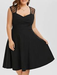 A Line Mesh Trim Plus Size Sweetheart Dress