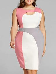 Plus Size Cut Out Color Block Work Dress