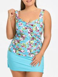 Plus Size Tankini Top and Skirt Swimwear
