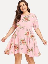Plus Flower Print Fit & Flare Dress