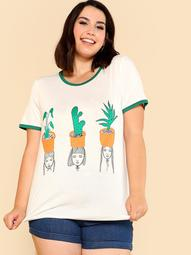 Plus Cactus & Girl Print Ringer Tee