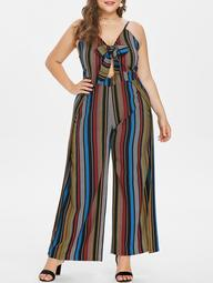 Plus Size Striped Front Knotted Jumpsuit