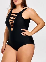 Plus Size Lattice Front One Piece Swimsuit