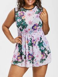 Plus Size Open Back Floral One Piece Swimsuit