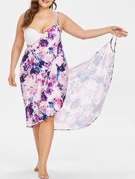Floral Ink Print Plus Size Beach Dress