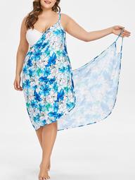 Floral Handpainted Print Plus Size Beach Dress