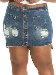 Plus Dest Button Front Denim Mini Skirt
