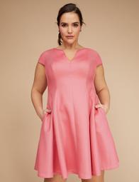 Cap-Sleeve Jacquard Fit & Flare Dress